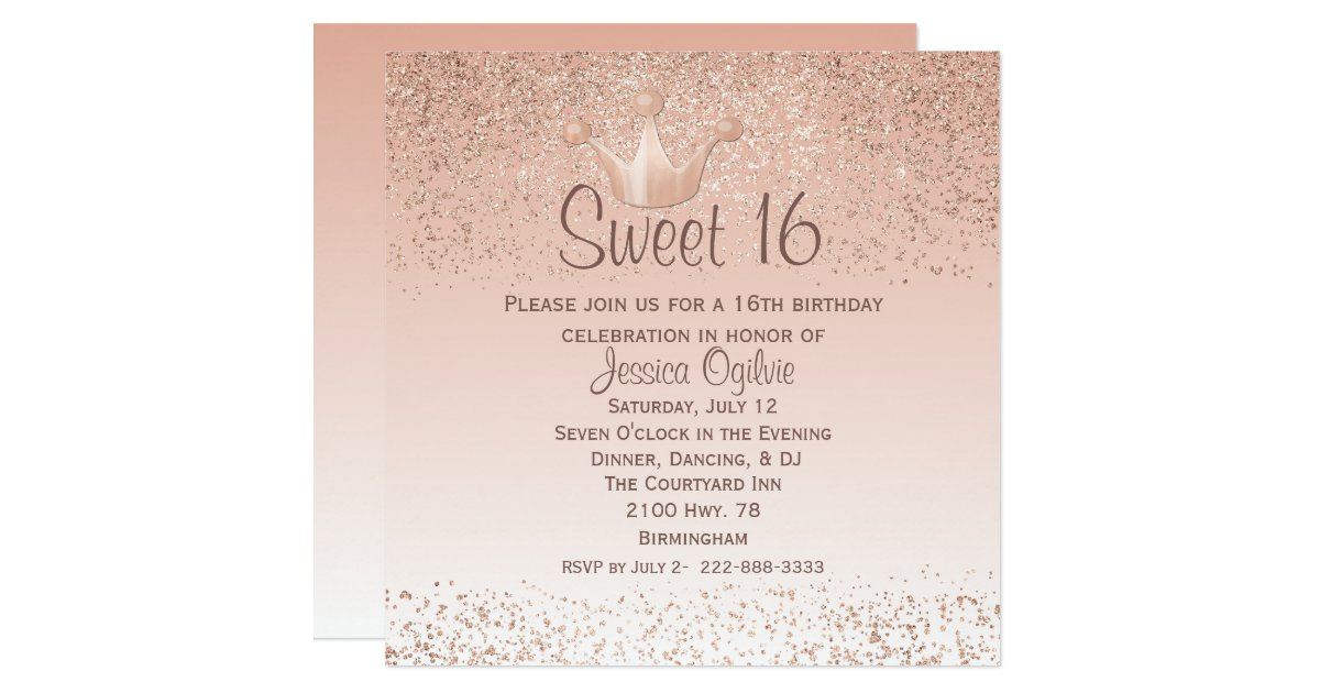Rose Gold Crown Sweet 16 Birthday Invitation   Zazzle.com