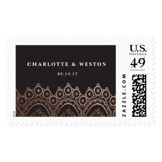 Rose Gold Delicate Lace Wedding Invitation Postage