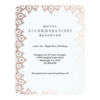 Rose Gold Delicate Wedding Hotel Card