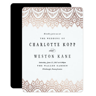 Wedding invitations wedding invitation cards zazzle lace wedding invitation design rose gold delicate stopboris Image collections