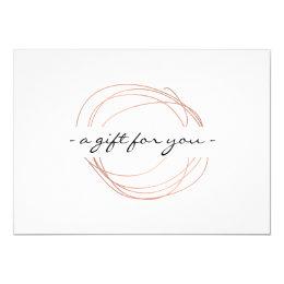 Rose Gold Designer Scribble Gift Certificate Card