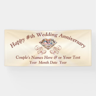 Rose Gold Diamond Anniversary Banner, Personalized Banner