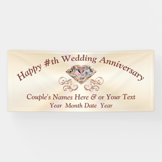 rose gold diamond anniversary banner personalized banner zazzle com