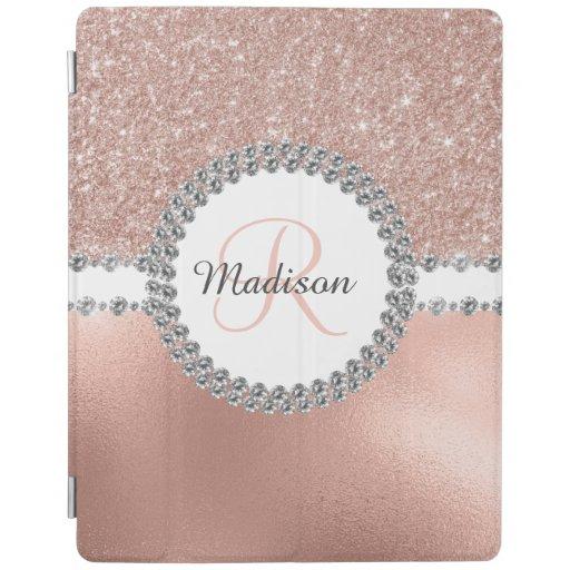 Rose Gold Diamond Bling Monogram Pretty Trendy iPad Smart Cover
