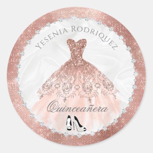Rose Gold Diamond Sparkle Glam Quinceanera Classic Round Sticker