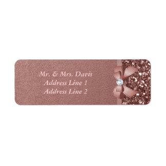 Rose Gold Diamonds Bow Glitter Label