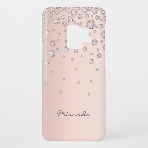 Rose gold diamonds chic girly glam name Phone Case