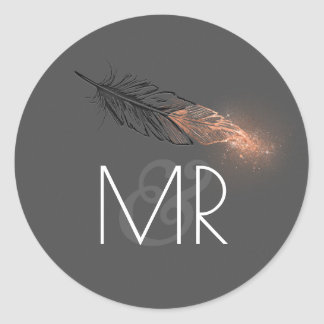 Rose Gold Dipped Feather Glitter Wedding Classic Round Sticker