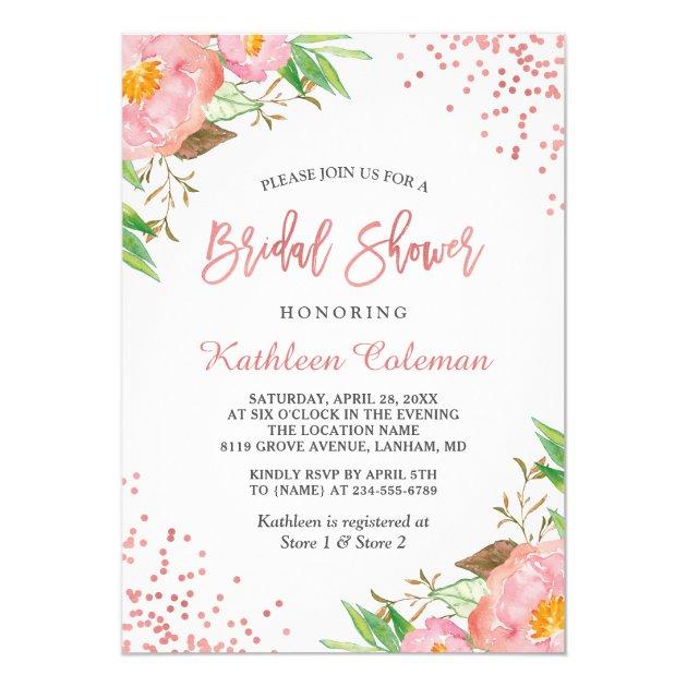 Rose Gold Dots Botanical Floral Bridal Shower Card (back side)