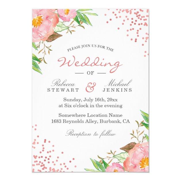 Rose Gold Dots Botanical Floral Wedding Invitation (back side)