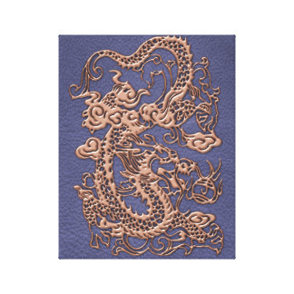 Rose Gold Dragon on Blue Slate Leather Texture Canvas Print