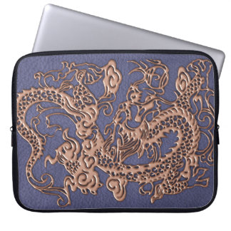 Rose Gold Dragon on Blue Slate Leather Texture Computer Sleeve