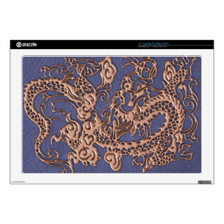 Rose Gold Dragon on Blue Slate Leather Texture Decal For Laptop