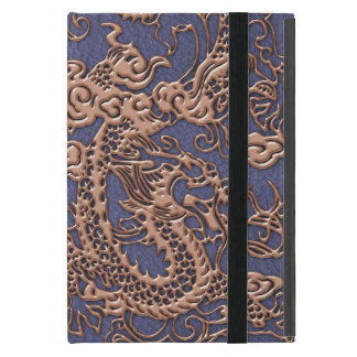 Rose Gold Dragon on Blue Slate Leather Texture iPad Mini Cover