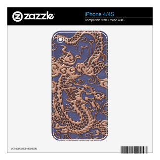 Rose Gold Dragon on Blue Slate Leather Texture iPhone 4 Skin