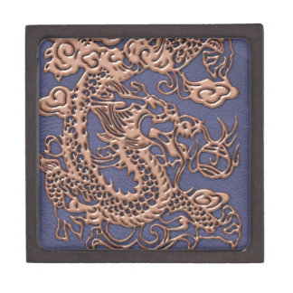 Rose Gold Dragon on Blue Slate Leather Texture Jewelry Box
