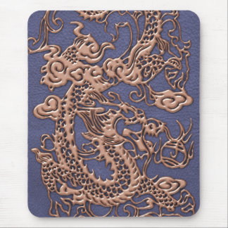 Rose Gold Dragon on Blue Slate Leather Texture Mouse Pad