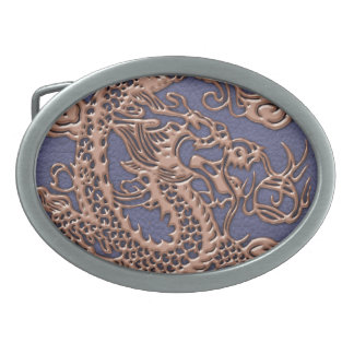 Rose Gold Dragon on Blue Slate Leather Texture Oval Belt Buckle