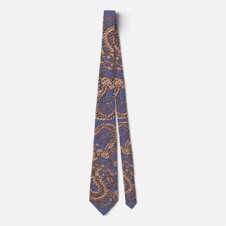 Rose Gold Dragon on Blue Slate Leather Texture Tie