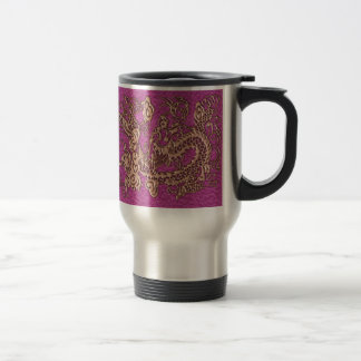 Rose Gold Dragon on Pink Magenta Leather Texture 15 Oz Stainless Steel Travel Mug