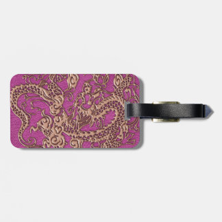 Rose Gold Dragon on Pink Magenta Leather Texture Bag Tag