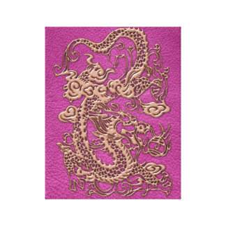 Rose Gold Dragon on Pink Magenta Leather Texture Canvas Print