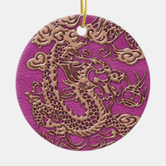 Rose Gold Dragon on Pink Magenta Leather Texture Ceramic Ornament