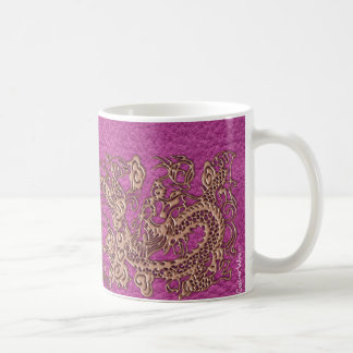 Rose Gold Dragon on Pink Magenta Leather Texture Classic White Coffee Mug