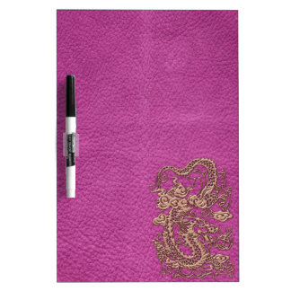 Rose Gold Dragon on Pink Magenta Leather Texture Dry Erase Board