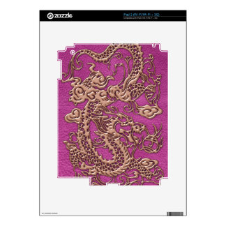 Rose Gold Dragon on Pink Magenta Leather Texture iPad 2 Skin
