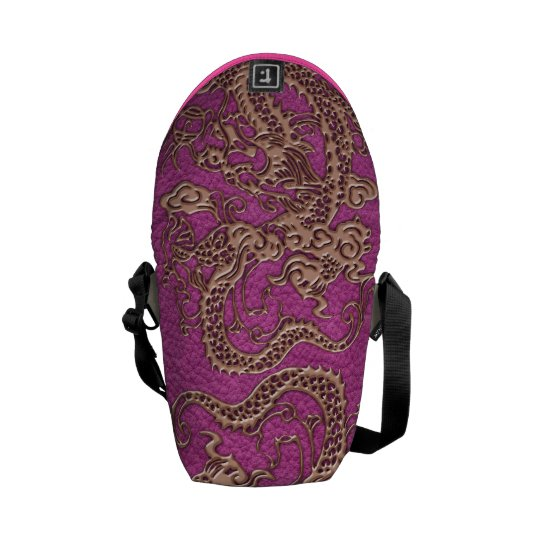 Rose Gold Dragon on Pink Magenta Leather Texture Messenger Bag