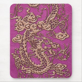 Rose Gold Dragon on Pink Magenta Leather Texture Mousepads