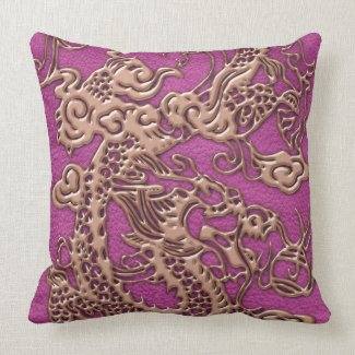 Rose Gold Dragon on Pink Magenta Leather Texture Pillows