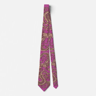 Rose Gold Dragon on Pink Magenta Leather Texture Tie