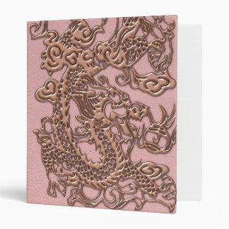 Rose Gold  Dragon on Powder Pink Leather Texture Binder