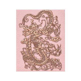 Rose Gold  Dragon on Powder Pink Leather Texture Canvas Print