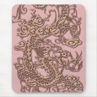 Rose Gold Dragon on Powder Pink Leather Texture Mouse Pad
