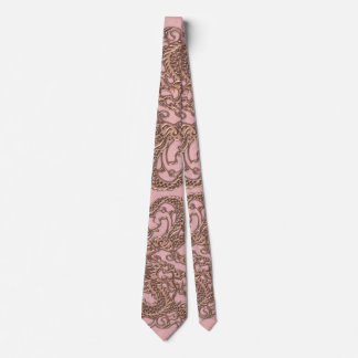 Rose Gold  Dragon on Powder Pink Leather Texture Neck Tie