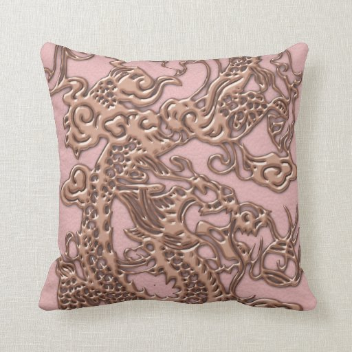 Rose Gold  Dragon on Powder Pink Leather Texture Pillow