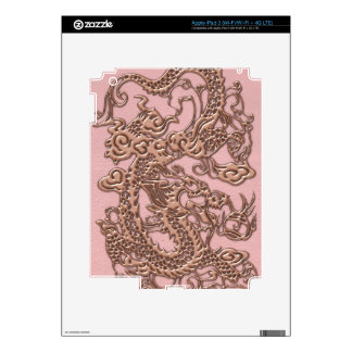 Rose Gold  Dragon on Powder Pink Leather Texture Skin For iPad 3