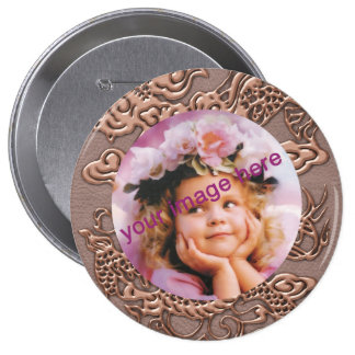 Rose Gold Dragon on Taupe Leather Texture Pinback Button
