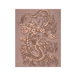Rose Gold Dragon on Taupe Leather Texture Canvas Print