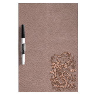 Rose Gold Dragon on Taupe Leather Texture Dry-Erase Boards
