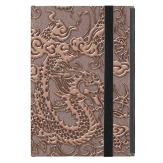 Rose Gold Dragon on Taupe Leather Texture iPad Mini Cover