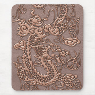 Rose Gold Dragon on Taupe Leather Texture Mouse Pad