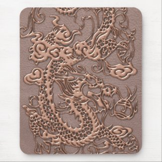 Rose Gold Dragon on Taupe Leather Texture Mousepad