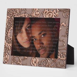 Rose Gold Dragon on Taupe Leather Texture Plaques