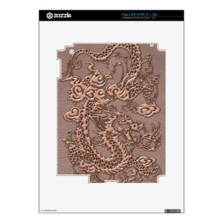 Rose Gold Dragon on Taupe Leather Texture Skin For iPad 2