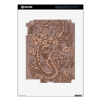 Rose Gold Dragon on Taupe Leather Texture Skins For iPad 3