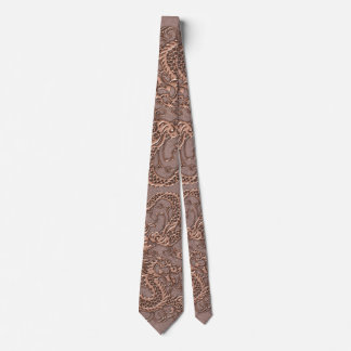 Rose Gold Dragon on Taupe Leather Texture Tie